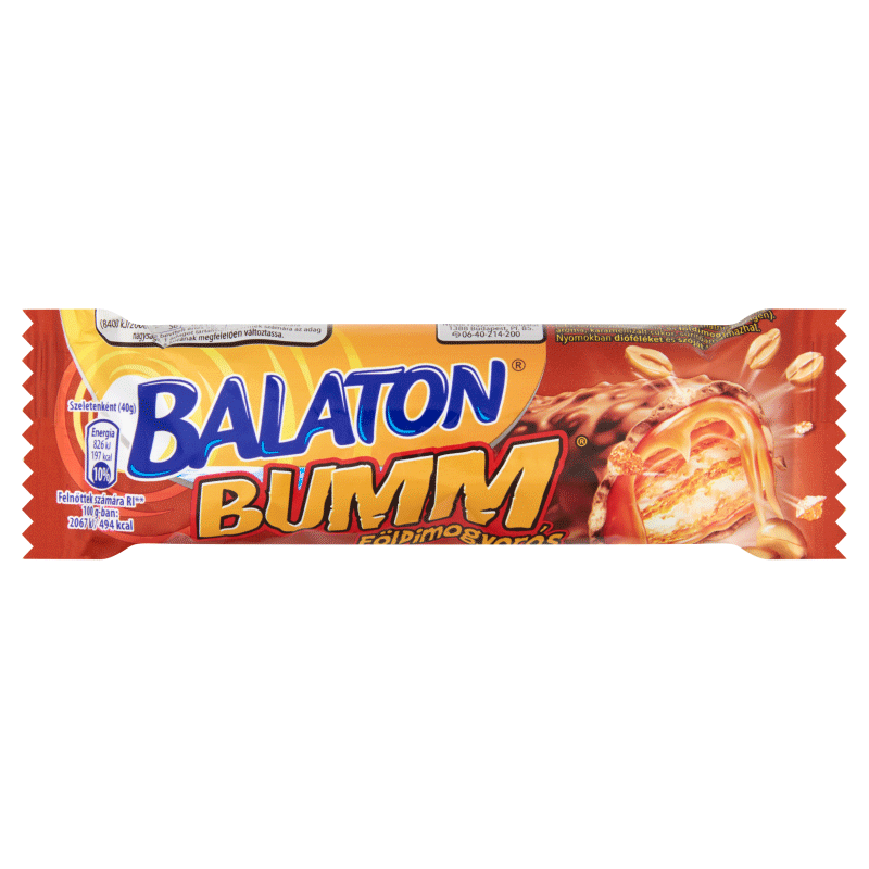 Balaton Bumm Wafer Bar Coated in Cocoa Milk Paste with Caramel, Wheat Flakes and Peanuts 40 g