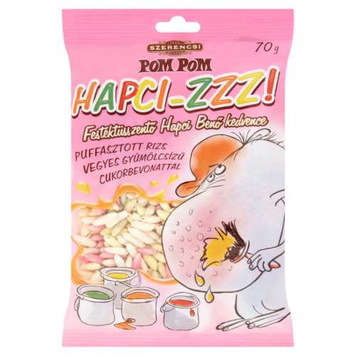 Szerencsi Pom Pom Hapci-ZZZ! Mixed Fruit Flavoured Sugar Covered Puffed Rice 70 g