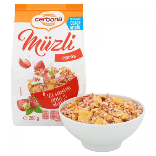 Cerbona Muesli 200 g strawberry with sweetener